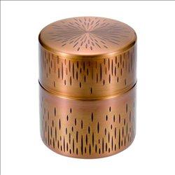 [新光金属株式会社] No.174890 / 純銅黄金被き仕上げ 縦目茶筒(大太)