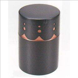 [新光金属株式会社] No.174897 / 純銅黒銅仕上げ 透かし彫り茶筒(中)