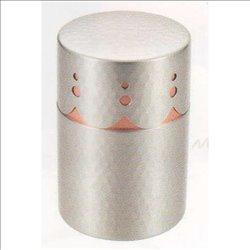 [新光金属株式会社] No.174898 / 純銅錫仕上げ 透かし彫り茶筒(中)