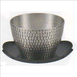 [新光金属株式会社] No.174869 / 純銅錫被仕上げ 手打ち槌目冷茶グラス(受皿付)