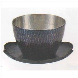 [新光金属株式会社] No.174871 / 純銅青被仕上げ 手打ち槌目冷茶グラス(受皿付)