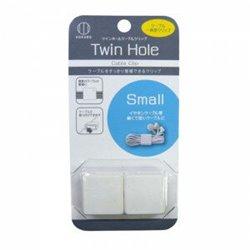 [プラグ・コード機器] No.137495 / Twin Hole ケーブルクリップ スモール(ホワイト) 2P