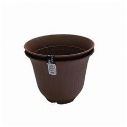 [植木鉢類] No.88661 / フラワー洋風ミニ2P (チョコBR) φ150*130mm