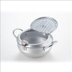 [調理器具] No.174941 / 味楽亭Ⅱフタ付天ぷら鍋20cm(温度計付)