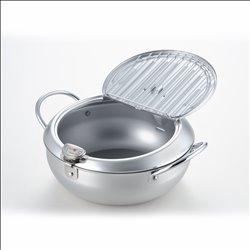 [調理器具] No.174942 / 味楽亭Ⅱフタ付天ぷら鍋24cm(温度計付)